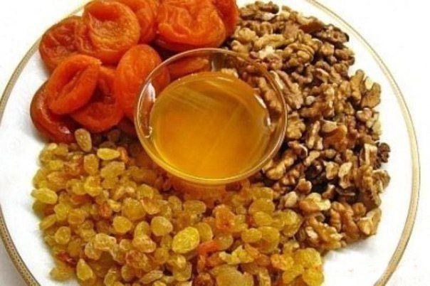 Чем полезна смесь: мёд, орехи, курага, изюм