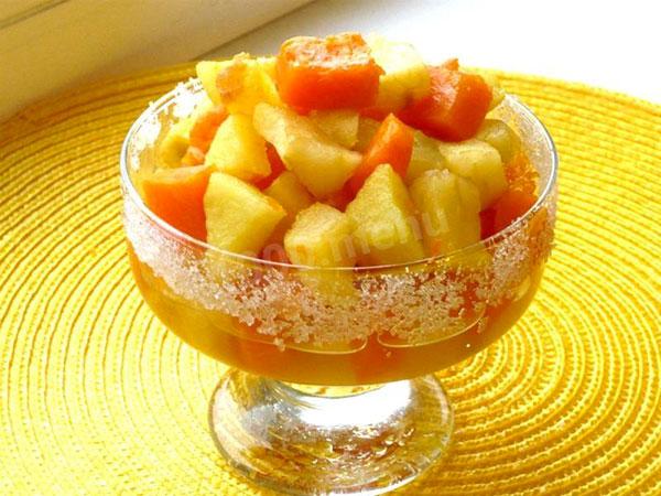 Тыква с фруктами и медом